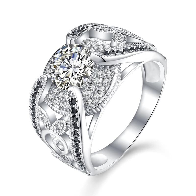 1.0 CT. Enhanced White Diamond Double Frame Engagement Ring in Sterling Silver ALLBIZIA