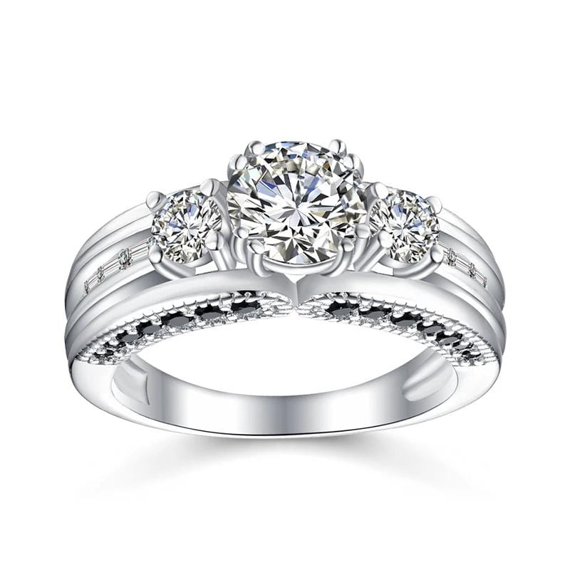 1.25 CT. Round Diamond Three Stone Engagement Ring in Sterling Silver ALLBIZIA
