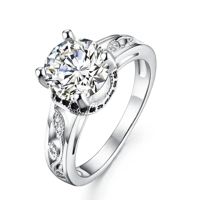 2.5 CT. Round-Cut Diamond Elegant Leaves-Design Engagement Ring in Sterling Silver ALLBIZIA
