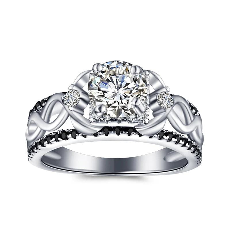 1.5 CT. Round Diamond Inter-Twist Shank Engagement Ring in Sterling Silver ALLBIZIA