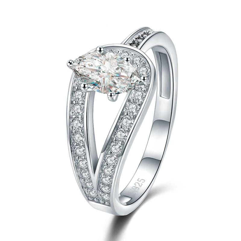 1/2 CT. Marquise Diamond Asymmetric Designed Shank Engagement Ring in Sterling Silver ALLBIZIA