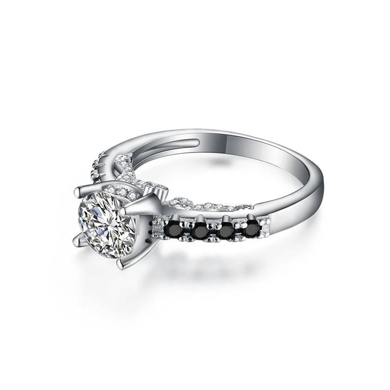 1.25 CT. Diamond Black Topaz Solitaire with Side Accents Engagement Ring in Sterling Silver ALLBIZIA