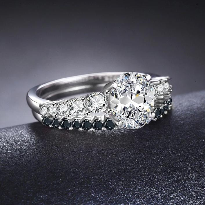 1.25 CT. Oval Diamond Bridal Set in Sterling Silver ALLBIZIA