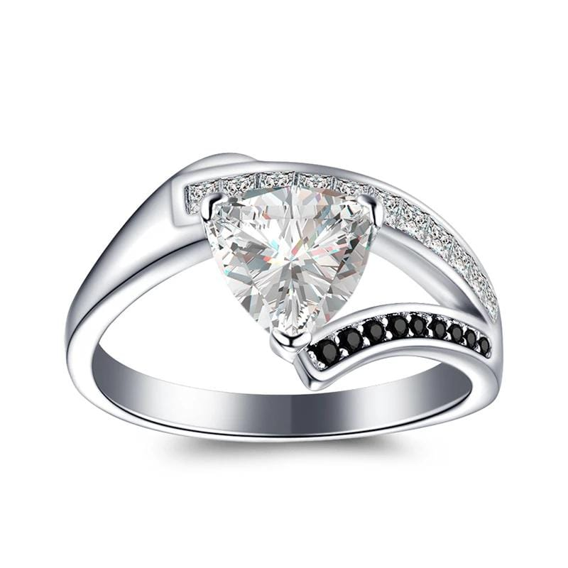 1.25 CT. Trillion-Cut Diamond Asymmetric Shank Engagement Ring in Sterling Silver ALLBIZIA