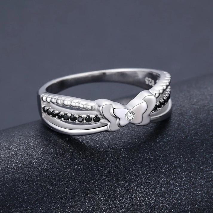 1/2 CT. Diamond Accent Split Shank Promise Ring in Sterling Silver ALLBIZIA