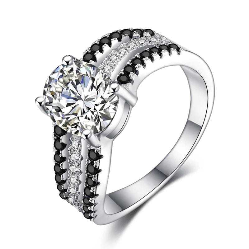 1.5 CT. Oval Diamond Multi-Row Engagement Ring in Sterling Silver ALLBIZIA