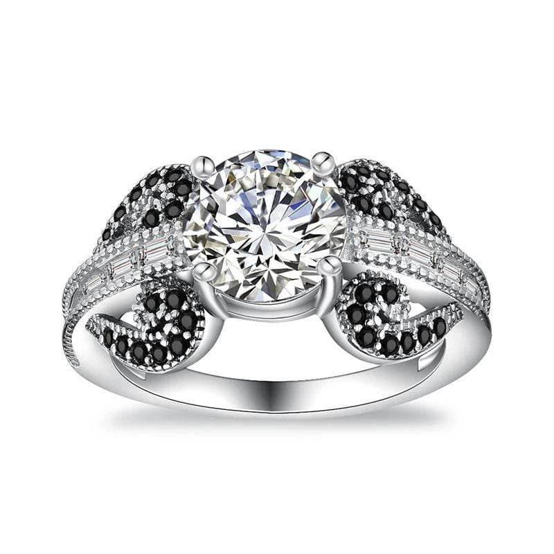 2.0 CT. Round Diamond Leaves-Designed Shank Engagement Ring in Sterling Silver ALLBIZIA