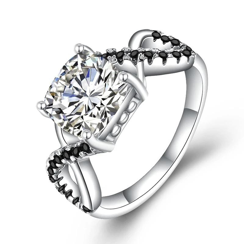 2.0 CT. Round Diamond Twist Shank Engagement Ring in Sterling Silver ALLBIZIA