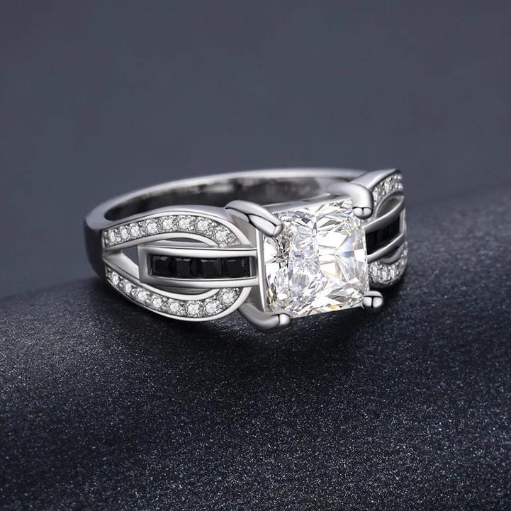 2.0 CT. Princess-Cut Diamond Fashion Designed Engagement Ring in Sterling silver ALLBIZIA