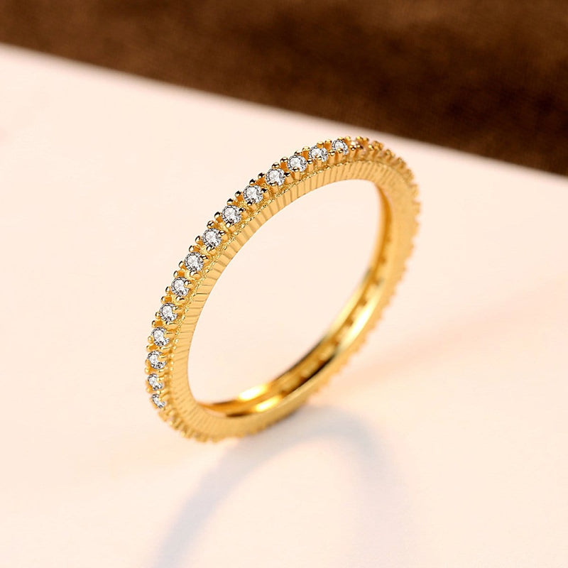 1.0mm Diamond 18K Gold Plated Eternity Wedding Band in Sterling Silver ALLBIZIA