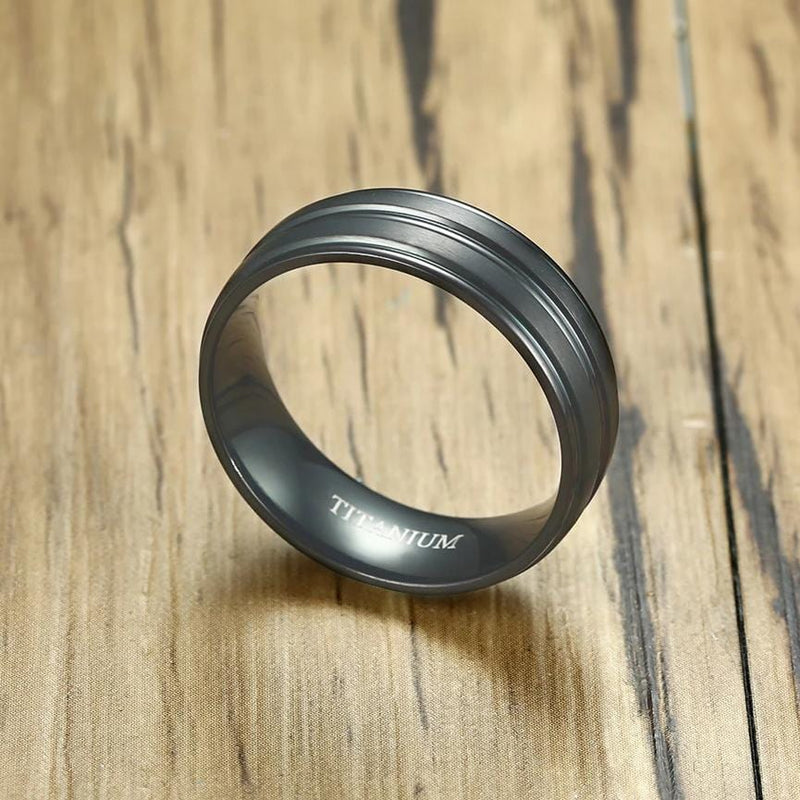 Men's 8.0mm Engravable Wedding Band in Titanium with Black IP