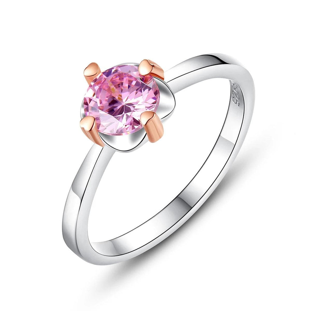 Lab-Created Pink Sapphire Solitaire Style Two Tone Promise Ring in Sterling Silver