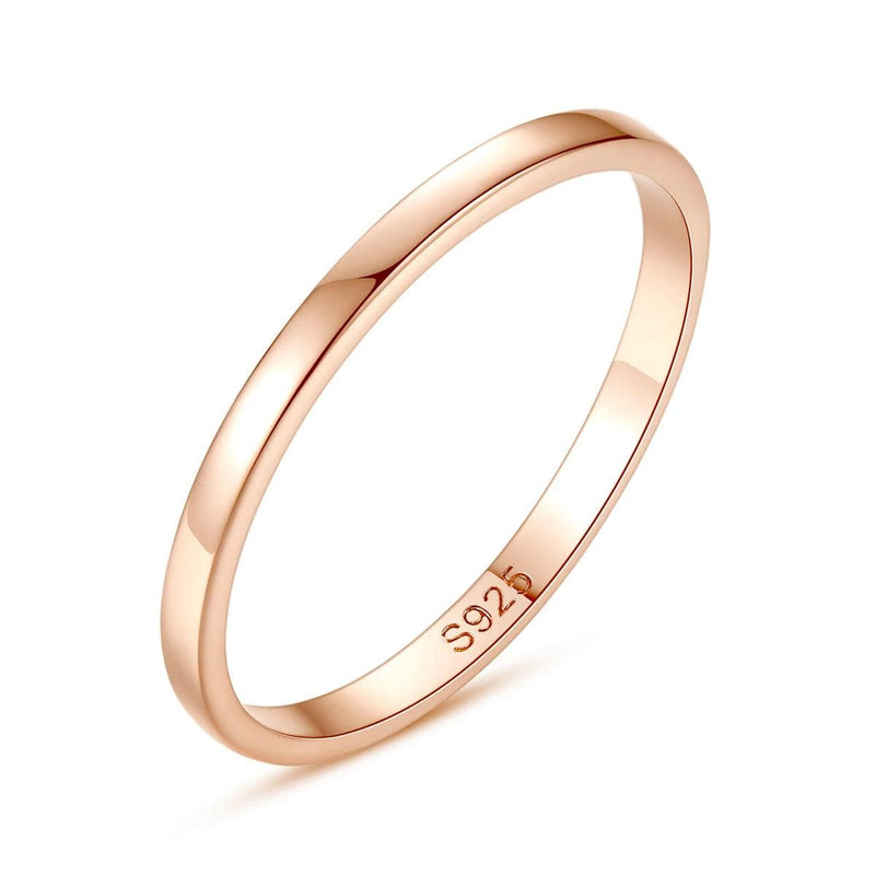Ladies' 2.0mm Comfort-Fit Rose Gold Tone Wedding Band in Sterling Silver