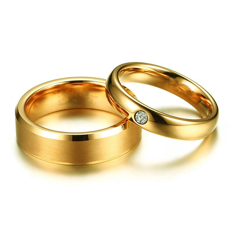 Couple's Titanium Promise Ring with Gold IP