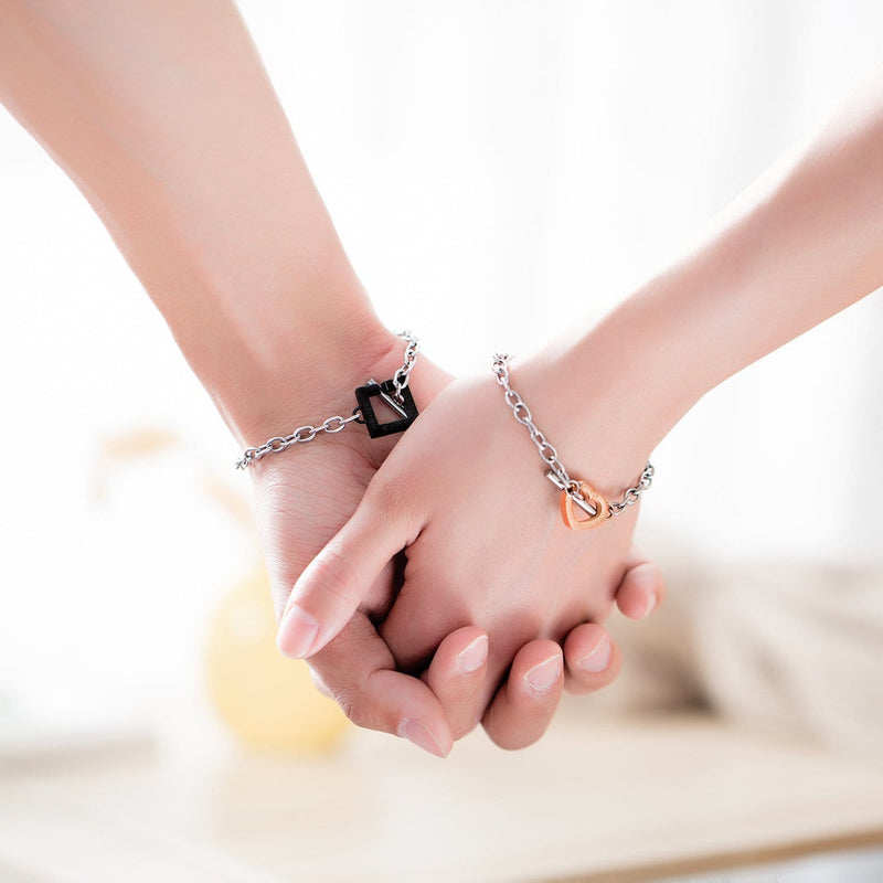 Rose and Black Couples Chain Bracelets
