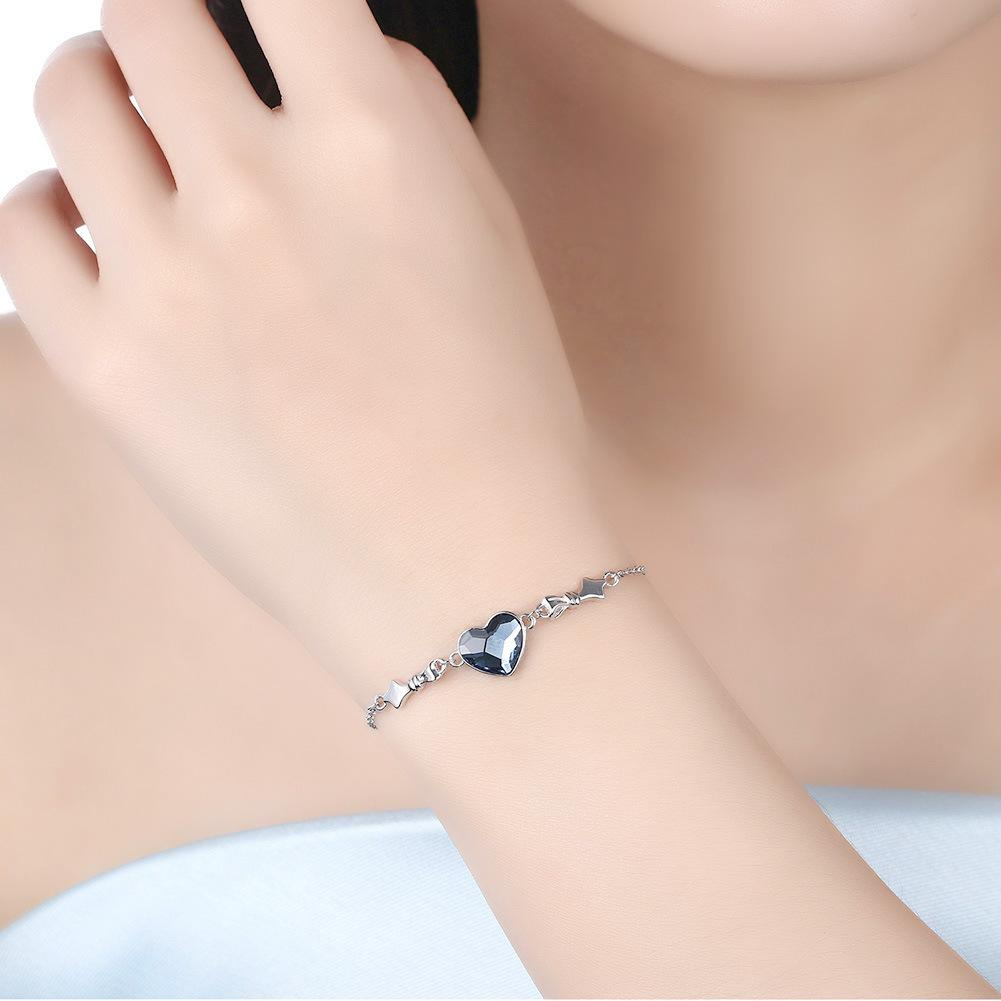 Forever Love Blue Heart S925 Sterling Silver Bracelets for Her