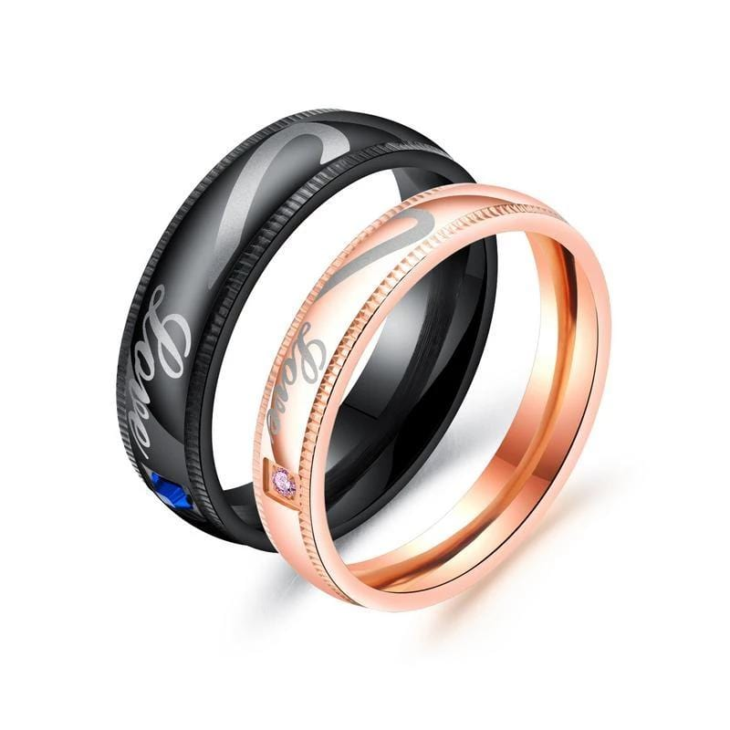 Matching Puzzle Heart Black and Rose Gold Couple Rings