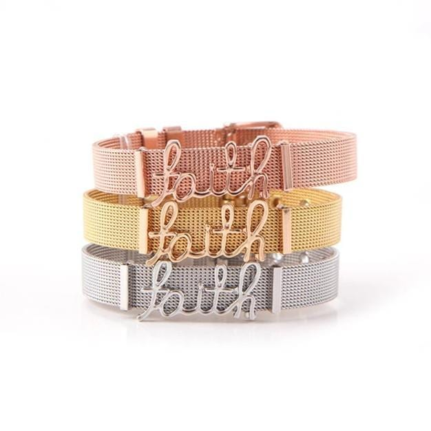 FAITH Alphabet Stainless Steel Bracelet for Her (4 Colors)