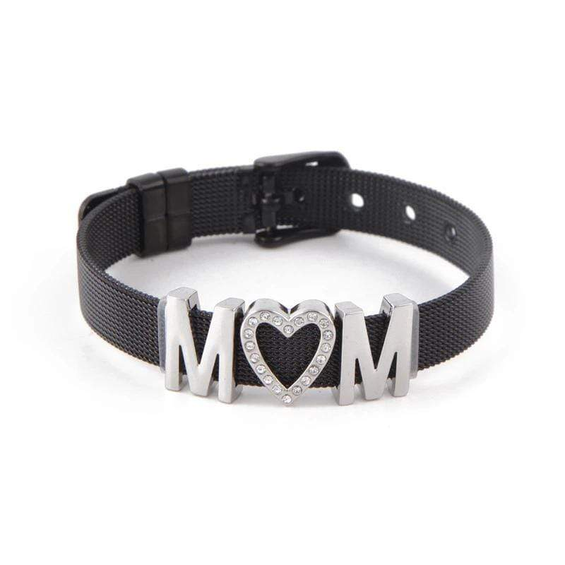 MOM Bracelet in Stainless Steel with Black IP