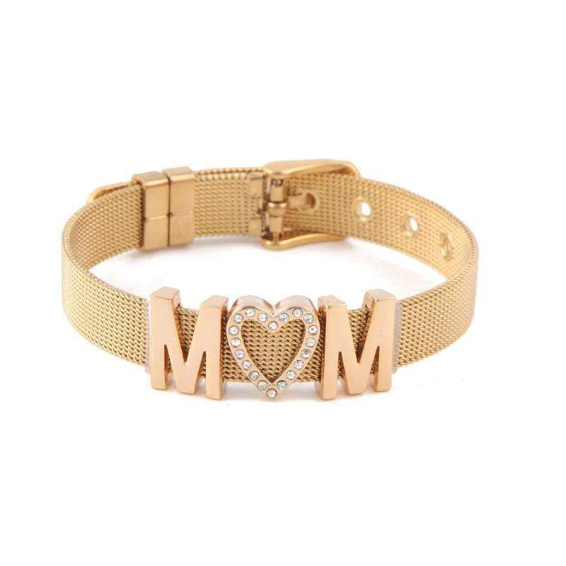 MOM Bracelet in Stainless Steel with Gold IP