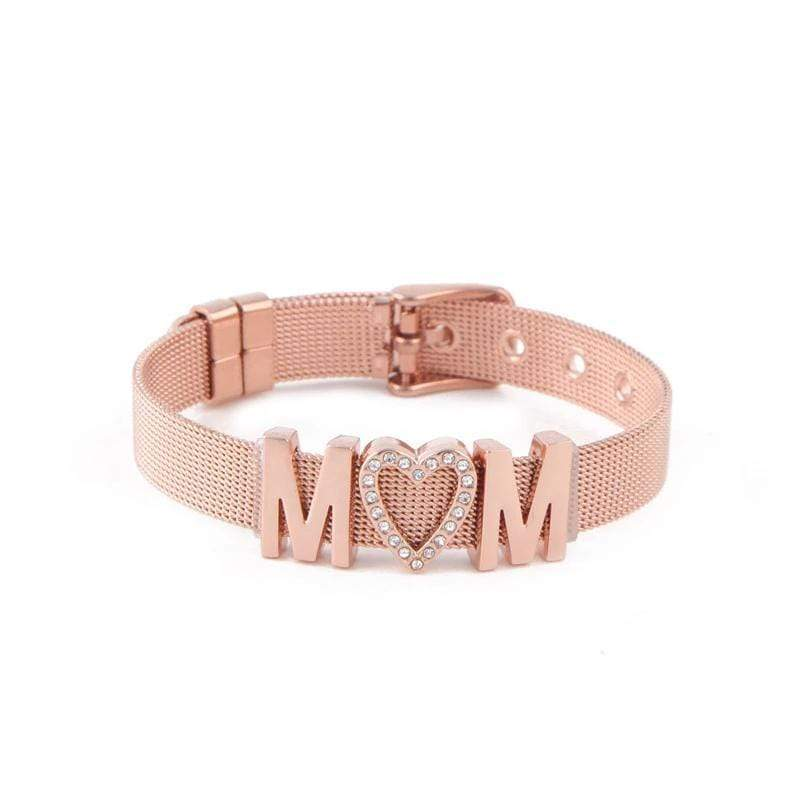 MOM Bracelet in Stainless Steel with Rose IP