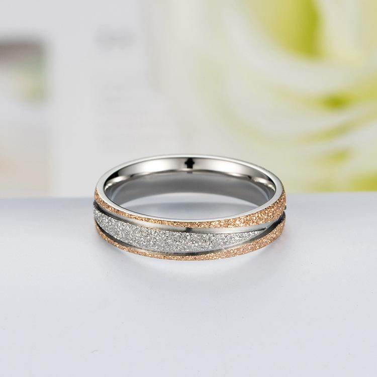 Couple's Frosted Polished X Shape Titanium Promise Ring with Rose & Black IP