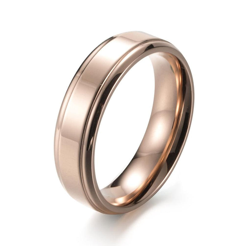 Couple's 6.0mm Engravable Titanium Promise Ring With Rose IP