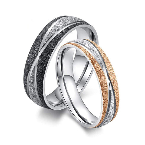 Couple's Three Stones Frosted Polished Titanium Promise Ring with Gold IP