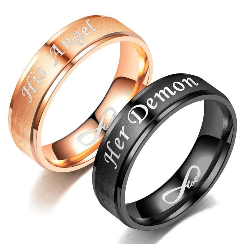 Her Demon His Angel Infinite Black & Rose Gold Couple Rings