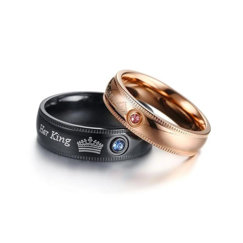 Her King His Queen Black and Rose Plated with Round Cut Gemstones Stainless Steel Couple Rings