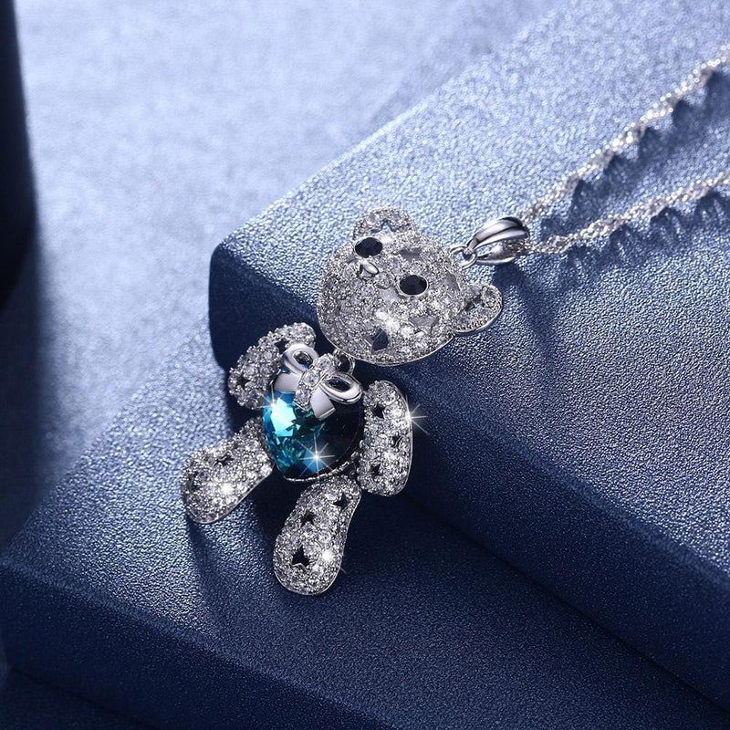 S925 Sterling Silver Adorable Bear Necklace
