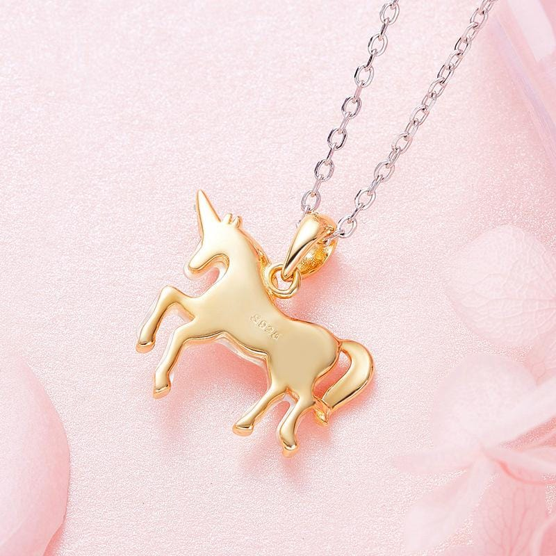 Unicorn White Shell With 18K Gold Plated Two-tone Sterling Silver Necklace