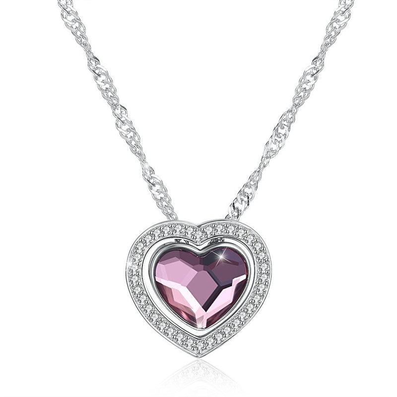 Two Ways Wearing Heart pendant Sterling Silver Necklace