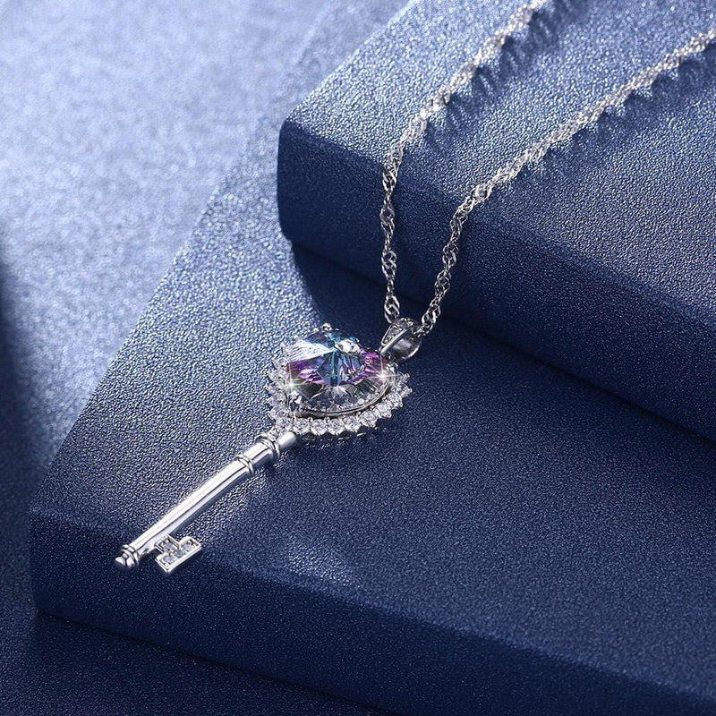 Crystal Heart S925 Sterling Silver Key Necklace for Her