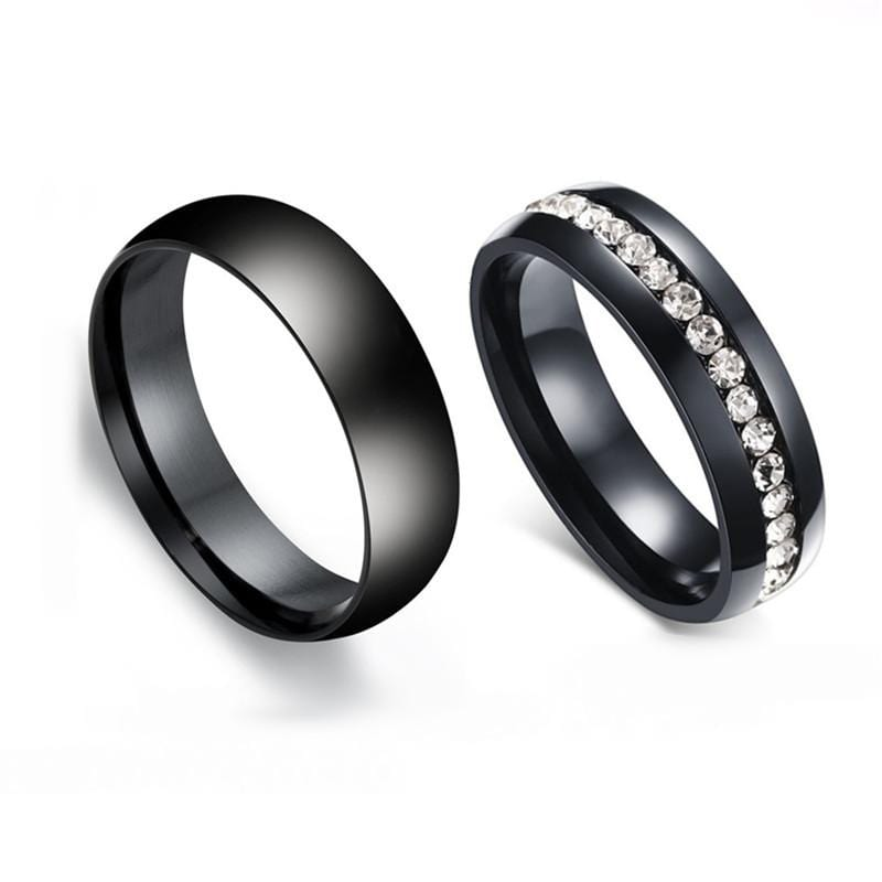 Couple's Diamond Titanium Promise Ring with Black IP