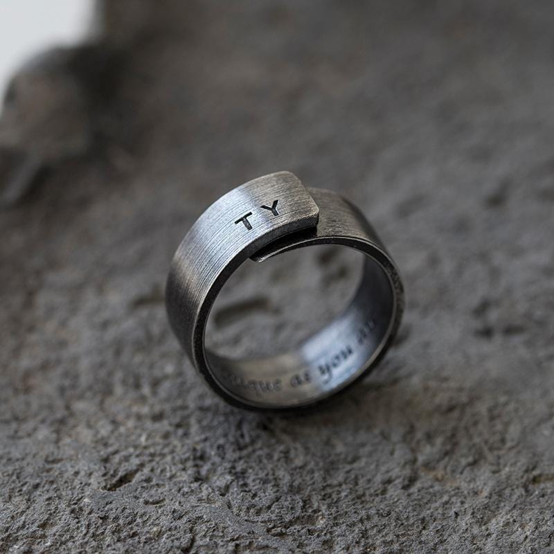 Vintage Initial Distressed Rings for Him and Her in Sterling Silver