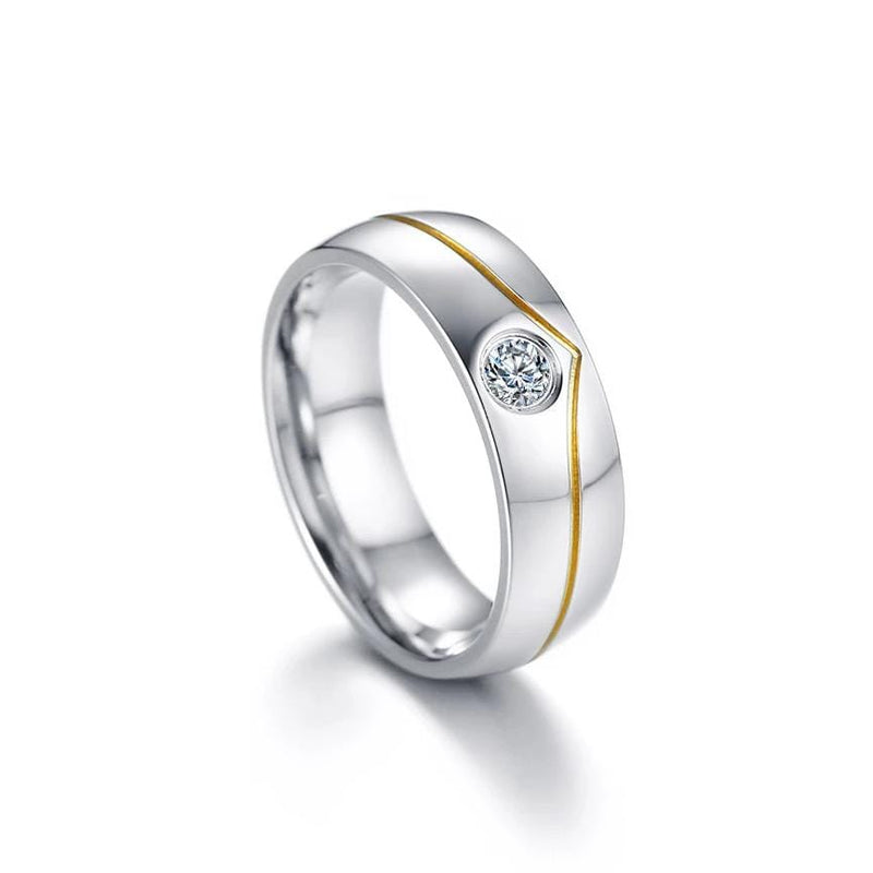 Elegant Crown Shape Yellow Gold with Silver Plated Stainless Steel Promise Rings for Couple