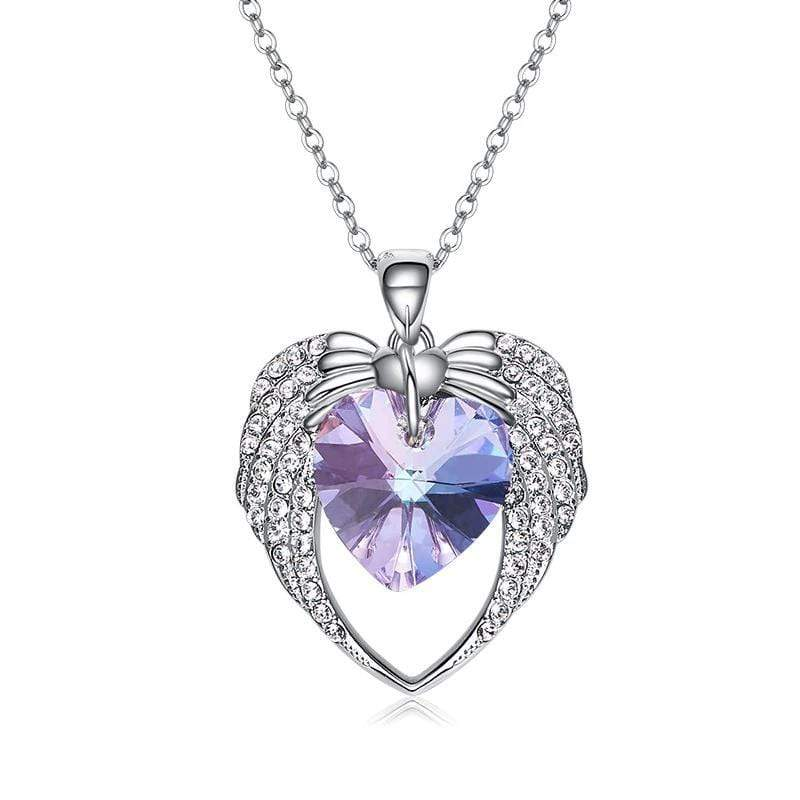 Purple Crystal Heart and Wings Necklace for Her