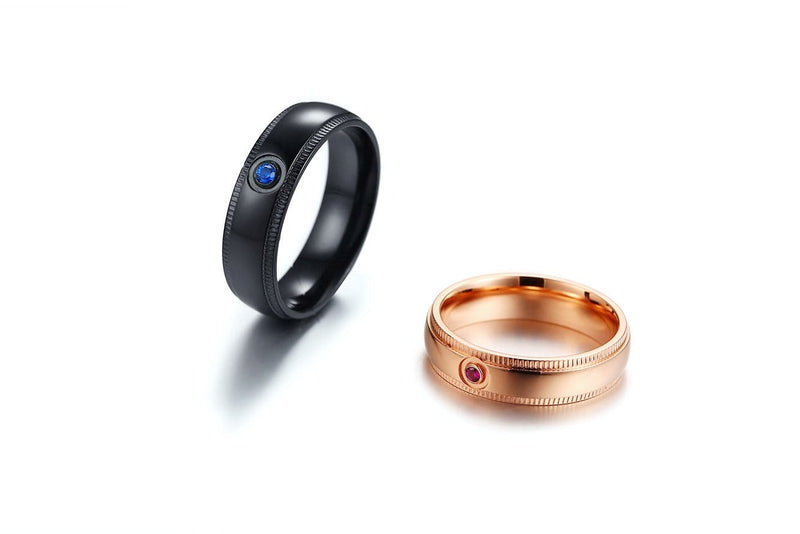 Round Cut Blue and Pink Gemstones Black and Rose Gold Plated Stainless Steel Promise Rings for Couples