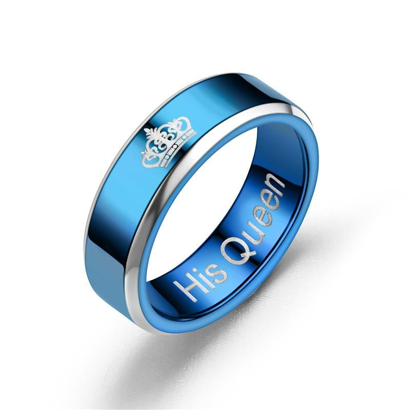 Couple's 8.0mm Engravable Her King & His Queen Promise Rings in Stainless Steel with Blue IP