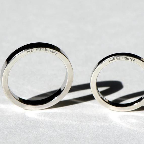 Personalized handcrafted Side engraving couple rings