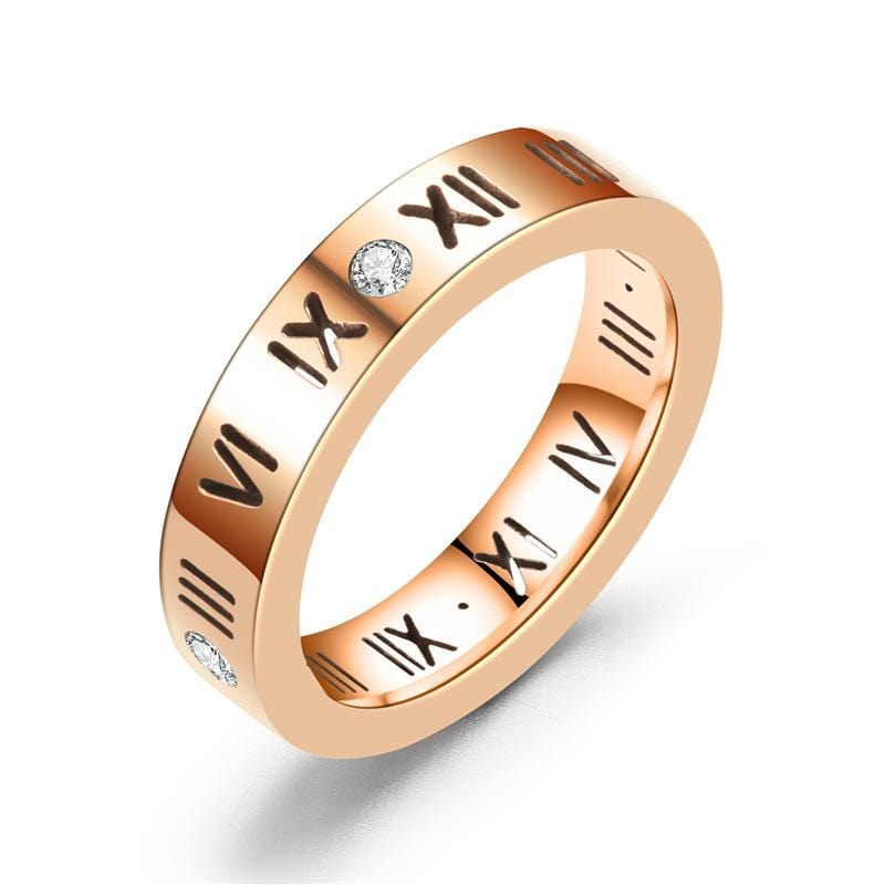 Diamond Roman Numeral Couple Rings with Gold IP-1