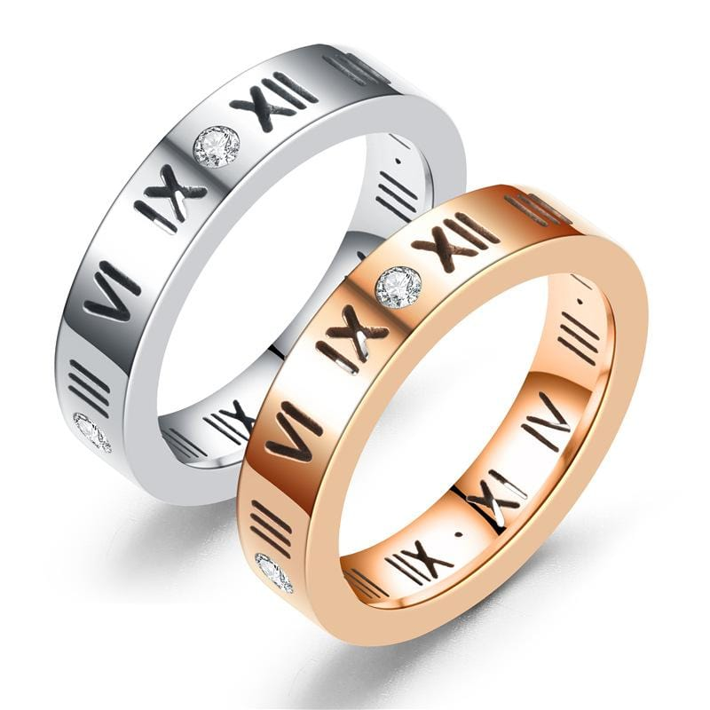 Diamond Roman Numeral Couple Rings with Gold IP-main