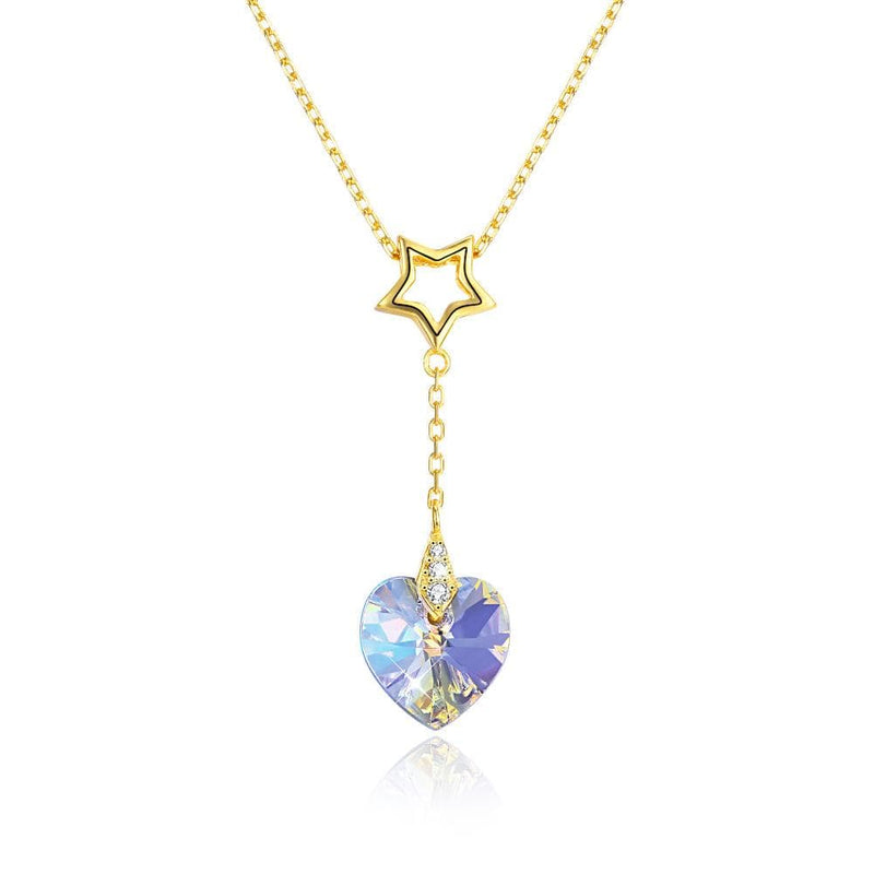 Crystal Heart Gold Star S925 Sterling Silver Necklaces for Her