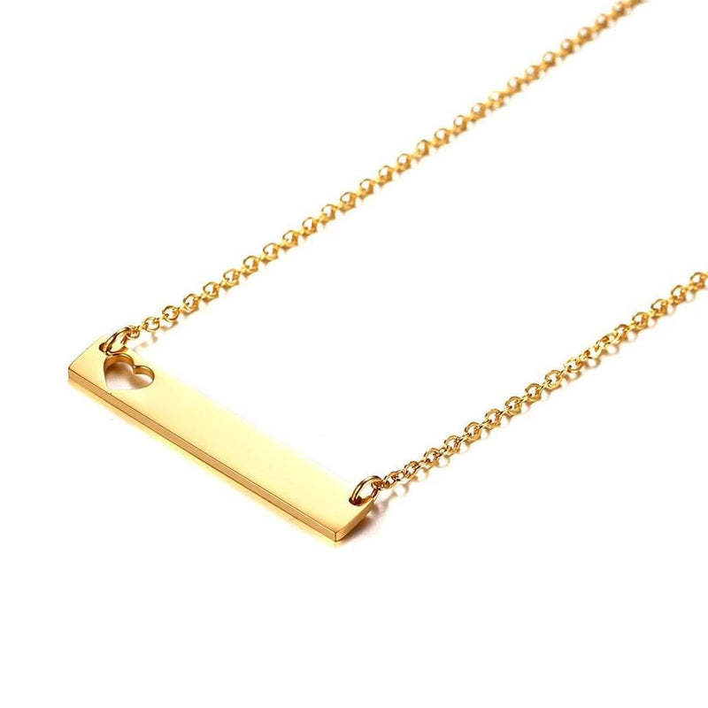 Personalized Hollow Heart Horizontal Bar Engraved Necklace for Her