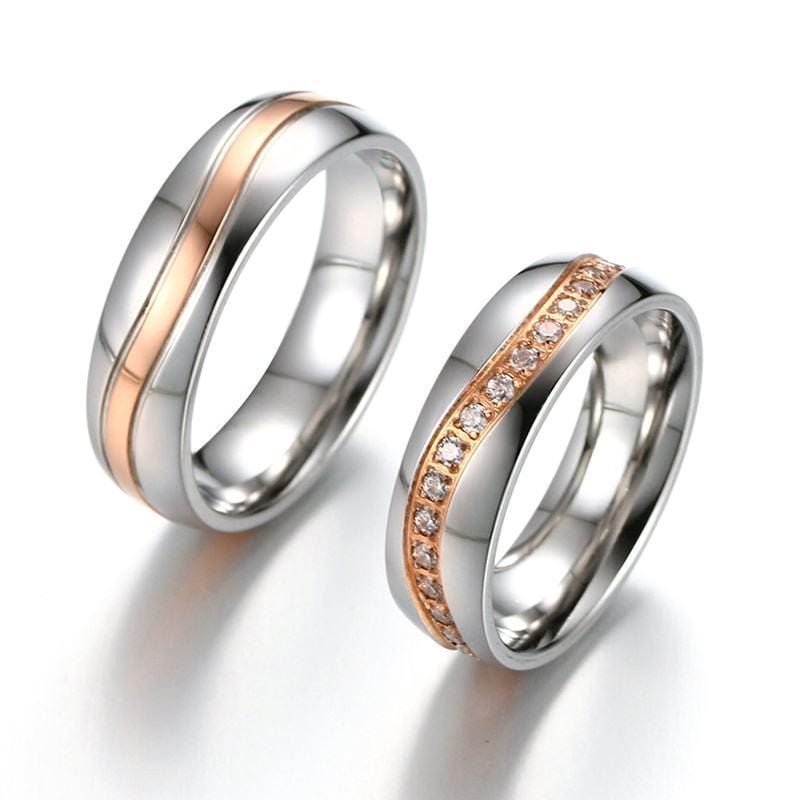 Geometric Style Rose Gold Plated With CZ Diamonds Promise Rings for Couples