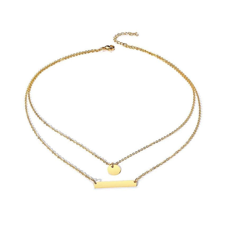 Personalized Modern Double-layers Yellow Gold Plated Engraved Bar Necklace for Her