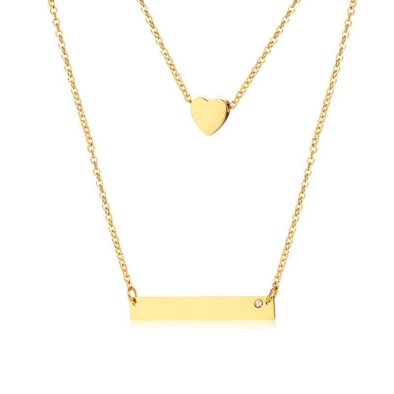 Personalized Heart Double-layers Yellow Gold Plated Engraved Horizontal Bar Necklace for Her