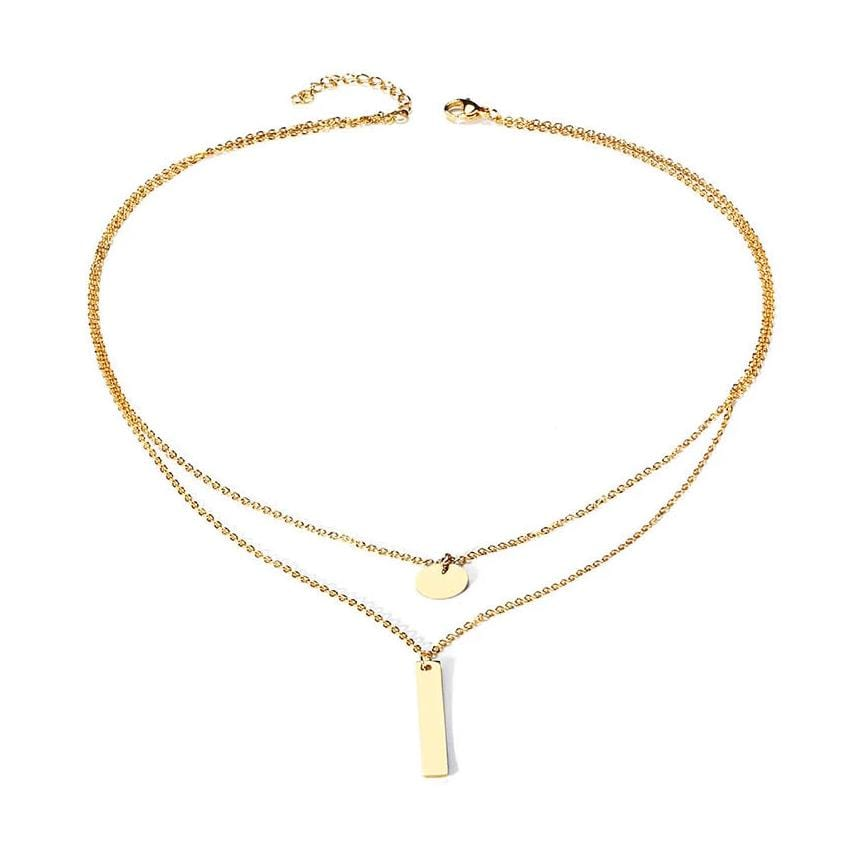 Personalized Double-layers Yellow Gold Plated Vertical Bar Engraved Necklace for Girls