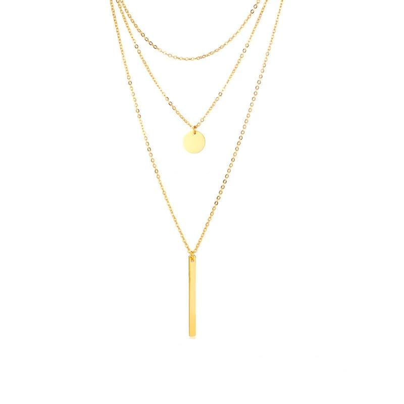 Personalized Triple-layers Engraved Vertical Bar Necklace for Her